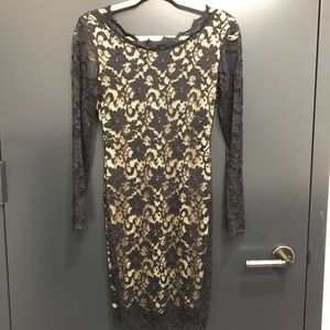 Arden B open back, black lace dress